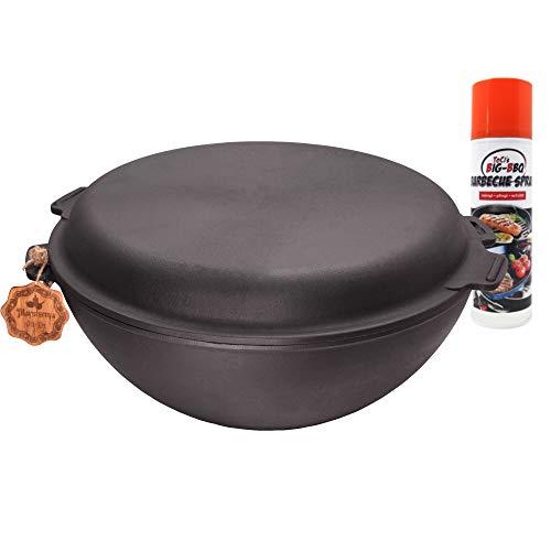 ToCis Big BBQ Gusseisen Wok 8 Liter Grill-Wok Wokpfanne Guss-Pfanne mit Deckel Nasha Maysternya Serie Ø 35cm mit Pflegespray
