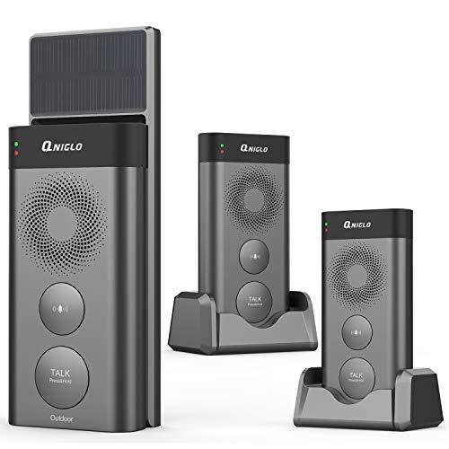 Wireless Doorbells Intercom, Solar Powered Doorbells Wireless with Removeable 2500mAh Batteries, 2640 Feet Long Range Rechargeable Door Bell Chime for Home