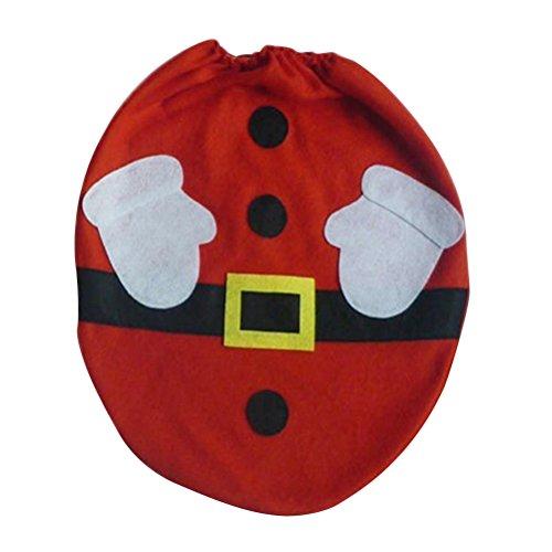 OULII Cubierta de asiento de inodoro roja de Santa Claus para cuarto de baño Navidad decoraciones para el hogar