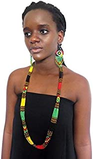 African Zulu beaded long necklace – Rasta colours - Gift for her