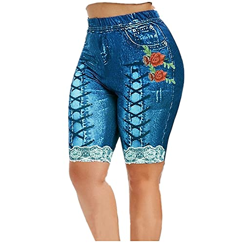 N\P Las mujeres pantalones cortos de yoga polainas de verano falso denim señoras pantalones cortos verano floral impreso cintura alta