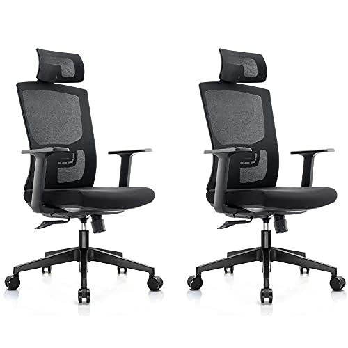 Ergonomic Office Chair (2 Pack) Adjustable Lumbar Support & Headrest, Swivel Rollerblade Wheels, High Back 125° Reclining & Rocking Mesh Computer Desk Chair with Thick Seat Cushion Home Black