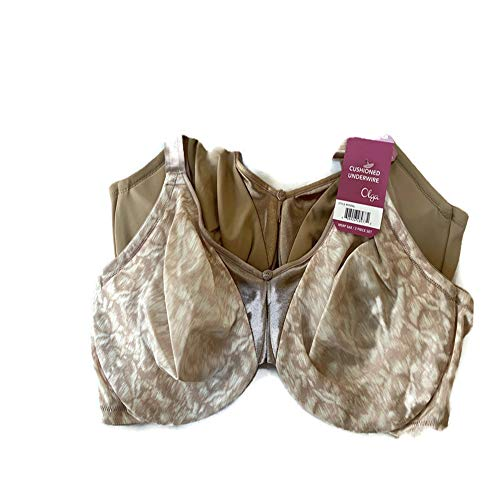 Olga Women's Support Satin Bra Two Pack (Nude and Mauve Swirl, 38C)