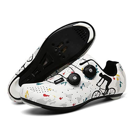 Zapatillas Bicicleta, Calzado de Ciclismo para Hombre,Mujeres Pro Road Bike Zapatos Indoor Riding Road Cycling Spining Shoes para Adulto Unisex,White(Road)-EU41