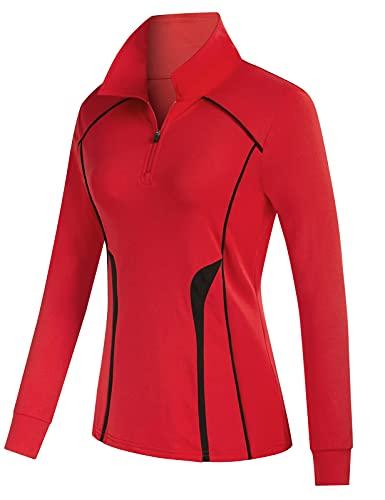 Women Sports Golf Polo Shirts UPF 50+ Athletic Shirts Moisture Wicking Active Shirt Slim Fit Equestrian Shirts Red XL