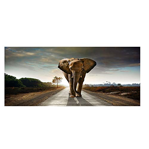 Africa Elephant Animal Landscape Oil Painting on Canvas Pop Art Poster and Print Abstract Art Wall Picture for Living Room Decor 30x75 CM (sin marco)