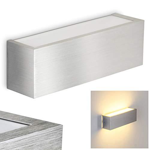 LED Wandlampe Olbia in Silber - Moderner Wandspot mit fest eingebauten LED Leuchtmitteln - Wandstrahler mit 490 Lumen je Leuchtmittel - Wand Lampe 3000 Kelvin