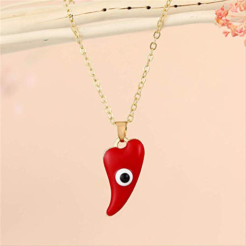 Enamel Irregular Heart Turkish Eye Pendant Necklace For Women Vintage Punk Lucky Evil Eye Chili Choker Clavicle Chain