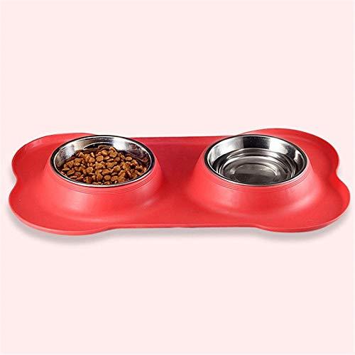 GVRPV Comederos para Perros, Cuenco de Acero Inoxidable con Doble Boca para Perros, Gel de sílice, Tipo de Hueso, Cuenco para Mascotas para Perros pequeños y medianos, Suministros para Mascotas, Rojo