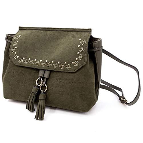Angkorly - Handtasche Rucksack Mini crossbody Tasche Tote bag Bommel Fransen Nieten-Besetzt Vintage/Retro BCBG nüchtern für jeden Tag Damen trend tasche elegante Geschenkidee A2163-2 Kaki