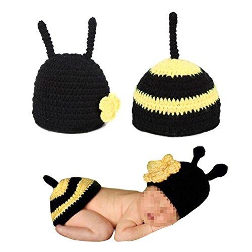 Zhandou Baby Bee Knit Hat, Baby Photography Props Bee Dos Piezas Hecho a Mano Traje De Beb Recin Nacido A Rayas Amarillas Traje De Foto De Lana De Beb De Cien Das