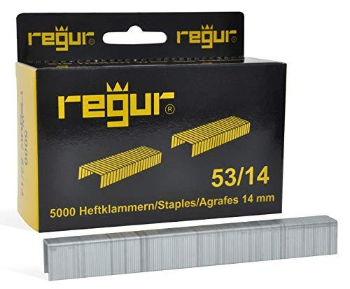 REGUR type 53 gegalvaniseerde clips met fijne draad - 5.000 stuks in lengte 53/14 mm - nietjes voor het bevestigen van stoffen, leer, textiel evenals voor handwerk en decoratie