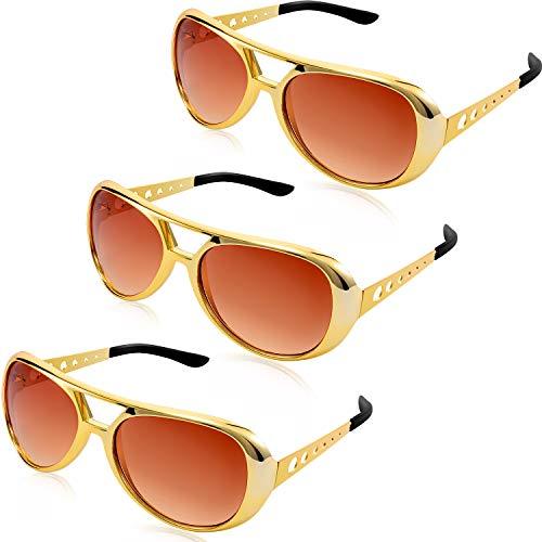 Frienda 3 Stücke Rockstar Gläser Presley Sonnenbrillen Fliegerbrille 50's und 60's Stil Gläser für Retro Mottoparty Kostümzubehör