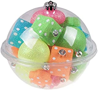 Clever Creations Dice, Heart, Star, and Ball Shatterproof Christmas Ornaments | 24 Pack Variety Bundle | 60mm | Neon Sparkling Blue, Green, Orange, Pink, and Yellow