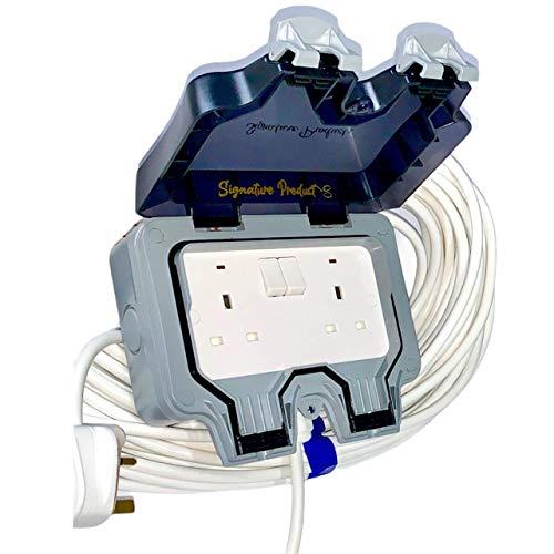 Cable de extensión para jardín al aire libre IP66, 1 m, LED blanco
