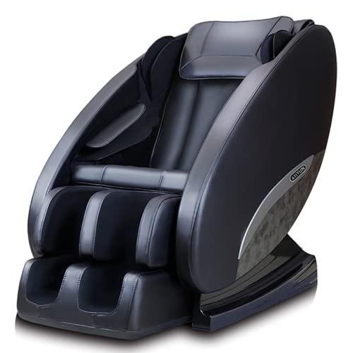 HYSK Silla de Masaje 3D, Silla de Masaje de Gravedad Cero, reclinable de Masaje Shiatsu de Cuerpo Completo con Altavoz Bluetooth Roller de pie de Calor Control Remoto Black