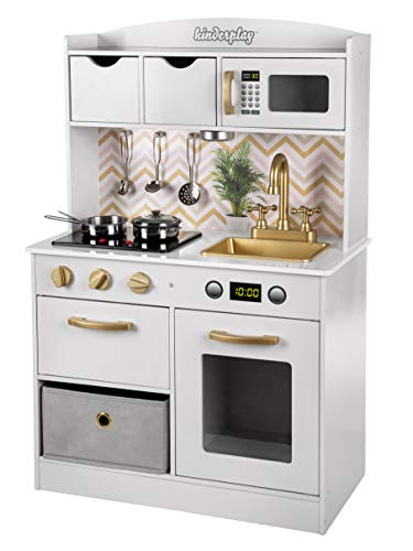 Kinderplay Grande Cucina per Bambini Legno Vintage Bianca Accessori per Cucina, Cucina Giocattolo per Bambini Gioco in Legno, GS0059