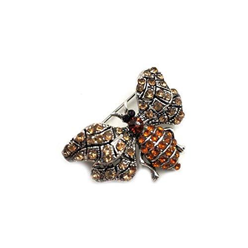 RYL Broche Pin Moth Ontwerp Sieraden Vintage Goud Metalen Borstpin voor Lady Vrouwen Kleding Decoratie Glanzende Strass Elegante en Speciale Broches