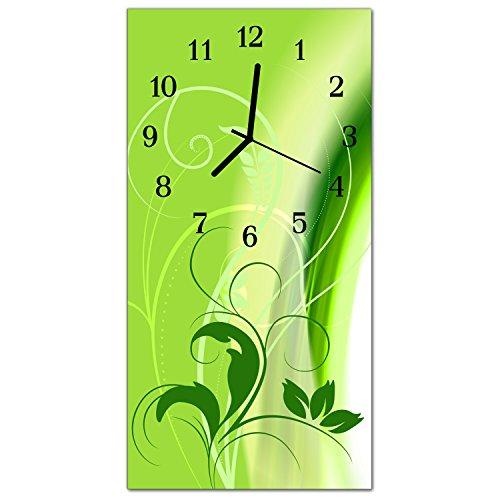 DekoGlas Glasuhr \'Muster Grün\' Uhr aus Echtglas, eckig große Motiv Wanduhr 30x60 cm, lautlos für Wohnzimmer & Küche