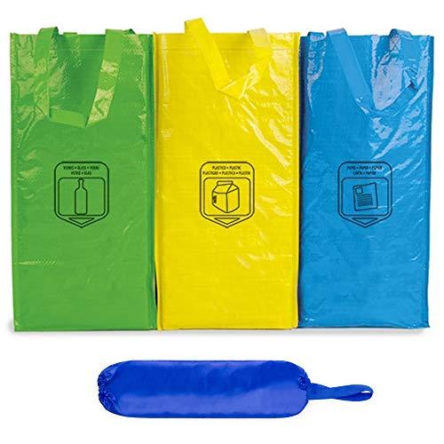 Natuiahan 3 Bolsas de Reciclaje Duraderas Robustas, Prácticas y Fáciles de Limpiar y Transportar. Incluye una Bolsa de Reciclaje para Almacenar Bolsas de Plástico
