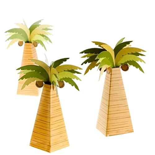 Amosfun Cajas de Caramelos Bombones Dulce Chocolate de Papel en Forma de Árbol de Coco Cajas de Regalo para Fiesta Boda Tropical Decoraciones del Regalo de Cumpleaños 24 Piezas