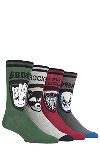 Film und TV Herren 4 Paar SockShop Guardians of the Galaxy Groot, Rocket, Star-Lord & Drax Baumwollsocken - Sortiert 46-48