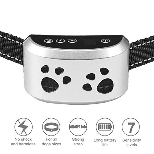 Dog Bark Collar Dogs No Bark Humane No Shock Training Collar Action Without Remote - Vibration & Sound Care Modes - for Small, Medium, Large Dogs Breeds No Harm Deterrent Reflective Vibrating Control