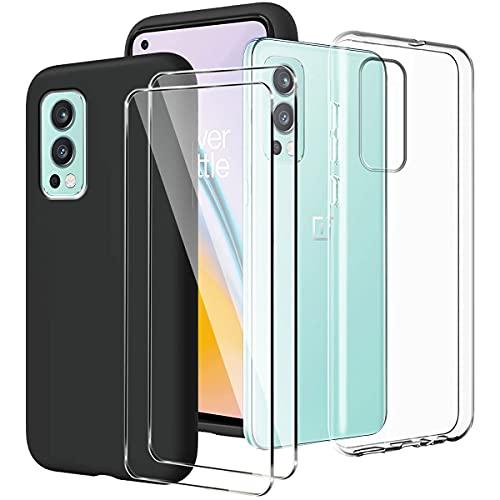LYZXMY Hülle für OnePlus Nord 2 5G Transparent + Schwarz Schutzhülle + [2 Stück] Panzerglas Bildschirmschutzfolie - Weich Silikon Flexibel TPU Tasche Hülle für OnePlus Nord 2 5G (6.43