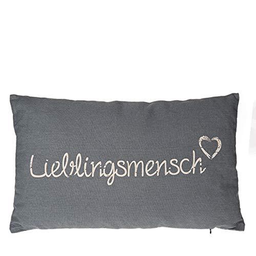 Verschiedene Kissen zur Auswahl/Wohnen/Wohndesign/Zuhause, Anzahl:1er Einzel, Kissen Auswahl:Lieblingsmensch grau