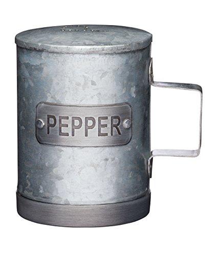 KitchenCraft Industrial Kitchen Galvanised Steel Vintage-Style Pepper Pot, 10 cm