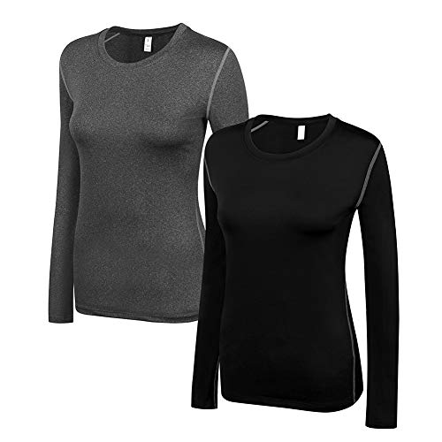 WANAYOU Women's Compression Shirt Dry Fit Long Sleeve Running Athletic T-Shirt Workout Tops,2 Pack(Black/Grey),M