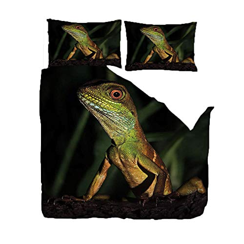 HANTAODG Bedding Set Double Bed Animal lizard 220x230cm Bedding Set with Zipper Closure Microfiber Bedding Quilt Cover for Kids Teens Adults Single Double King Size Bed
