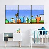 Super Mario Bros - Juego de 3 figuras de juguete para la pared, sin marco, 35 x 50 cm x 3 unidades, color gris