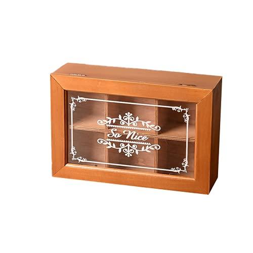 Caja de almacenamiento de impresión de acrílico de acrílico de escritorio de EasenHub 6, caja de regalo retro vacía, almacenamiento de joyas de madera