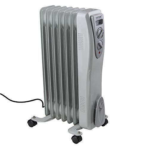 AMOS 7-Fin 1500W Oil Filled Radiator 3 Heat Settings with Adjustable Temperature Thermostat Home Office Heater