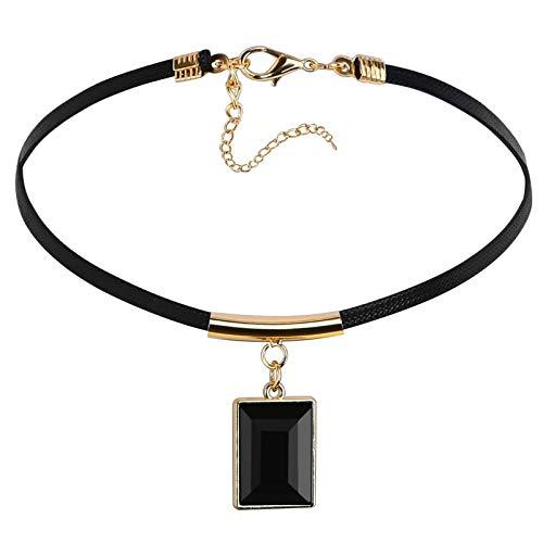 AnazoZ Collares Acero Inoxidable Mujer Rectángulo con Choker Oro Negro