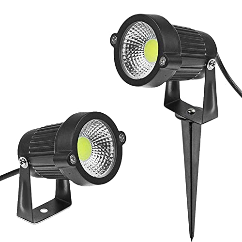 Faretto a led cob da esterno per giardino orientabile 5w 660 lumen luce con picchetto lampada proiettore spot (Bianco caldo 3000K)