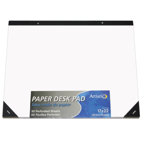 """Artistic 17""""x22"""" Plain White Paper Drawing & Note Desk Pad, 50 Sheets, Perforated, Ideal for Ideas & Notes, Protects Desks From Scratches and Spills"""