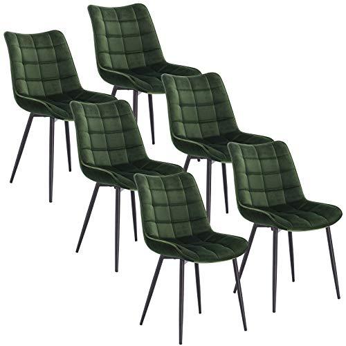 WOLTU 6 x Esszimmerstühle 6er Set Esszimmerstuhl Küchenstuhl Polsterstuhl Design Stuhl mit Rückenlehne, mit Sitzfläche aus Samt, Gestell aus Metall, Dunkelgrün, BH142dgn-6