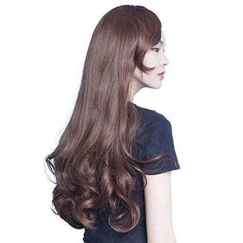 Robe Perruque Avant Dentelle Réaliste Perruques Femmes Longs Cheveux Bouclés De Mode Droite Humain Synthétique Brun Longue Onde Perruques Moyenne Longueur