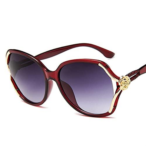 QSLS 1 pc Gafas de Sol Mujer Retro Dama Conducción Gafas Elegantes Moda Damas Gafas de Sol UV 400 Nuevo Espejo Hembra Gafas Gafas (Lenses Color : Winered)