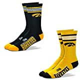 For Bare Feet Men's NCAA (2-Pack)-4 Stripe Deuce Crew Socks-Size Large and Medium (Iowa Hawkeyes-2 Pack-Gold & Black, Large (10-13))