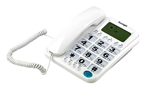 TELEFONO FIJO PANTALLA IDENTIFICADOR LLAMADAS PERSONAS MAYORES SOBREMESA DIGITOS TF-L22 (BLANCO)