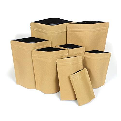 ZHJKK Beige Stand-up-Kraftpapier-Reißverschluss-Tasche getrocknete Früchte gemahlene Kaffee-Snack-Nüsse Pulver Wärmeversiegelungsfolie Verpackungsbeutel (Color : 12x20x4cm, Size : 50pcs)