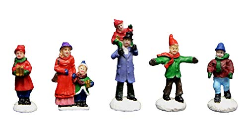 Christmas Village Figurines 5 Piece Family Set | Perfect addition to your Christmas Indoor Decorations & Snow Village Displays