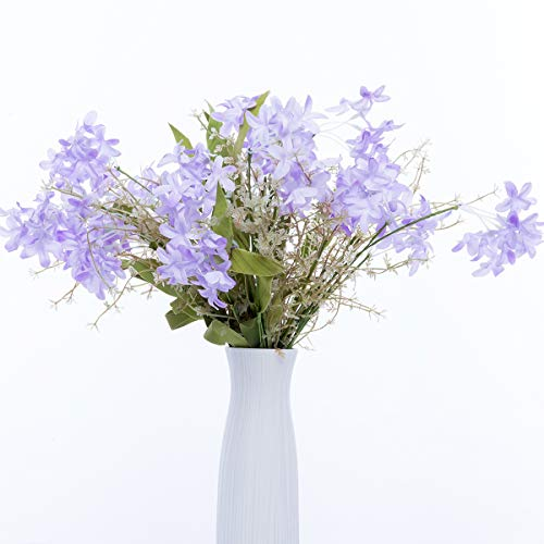 UiiziC Artificial Flowers Home Bouquets Fake Silk Flowers with Foam Leaves and Plastic Vines for Wedding Party Hotel Centerpieces Decorations (Lavender, 5pcs Bouquet)