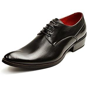 [ジーノ] 【選べるビジネス】 ビジネスシューズ メンズ 革靴 靴 ロングノーズ フォーマル レースアップ モンクストラップ ヒールアップ 紳士靴 男性用 Black ブラック 27cm 1072 BK