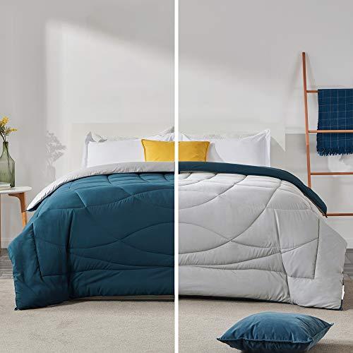 SLEEP ZONE All Season Comforter Down Alternative Soft Temperature Regulation Reversible Duvet, Teal+Silver Gray, Full/Queen