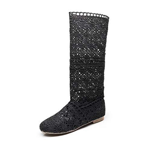 Donna Ricamo Stivali Estive Affascinante Traspirante Stivali Elegante Sandali Nero EU 40
