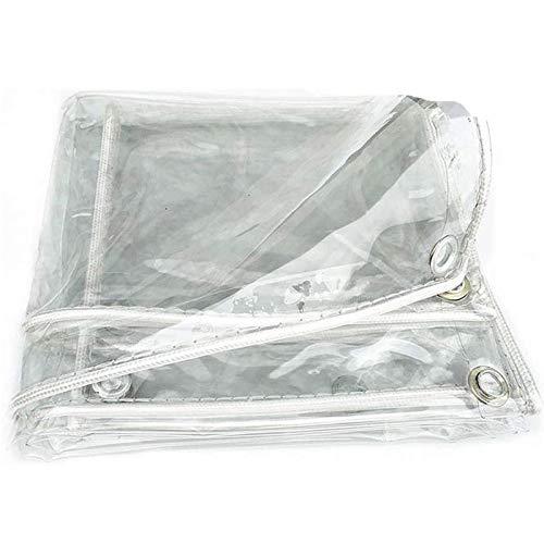 Lona De PláStico Transparente Resistente A La Lluvia, Lona Impermeable Gruesa Transparente, con Ojales Y Bordes Reforzados, para Plantas, Invernadero, 400g/M², 0.3mm(1.8x4m(5.9x13.1ft))